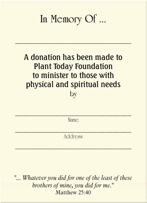 Memorial Donation Card Template by Index Www Planttoday Org