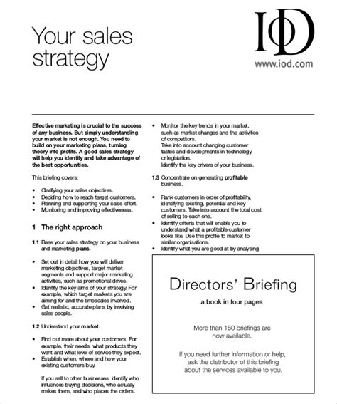 sales strategies template sales strategy template 13 free word pdf documents
