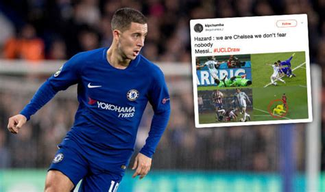 Lulia Sporty Vs67 chelsea vs barcelona fans clash hazard and messi after draw football sport express co uk