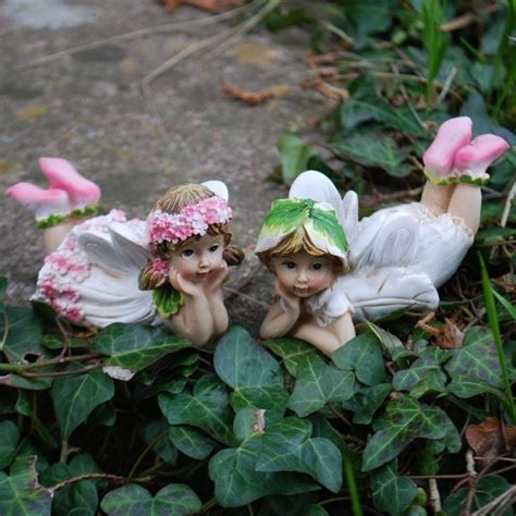 Set Of Two Laying Flower Fairy Garden Ornaments Outdoor Flower Garden Ornaments