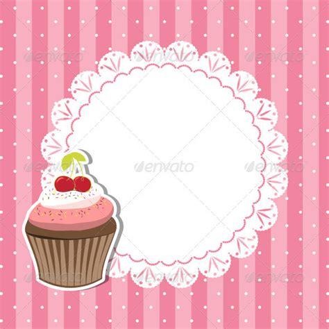 Cherry Cupcake Invitation Card By Meikis Graphicriver Cupcake Powerpoint Template