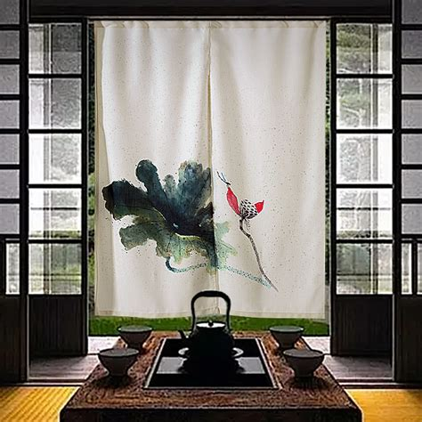 feng shui curtains china lotus chinese ink painting door curtain japanese