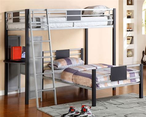 Grey Metal Bunk Beds Daytona Silver Gray Metal Loft Bunk Bed With Lower Bed
