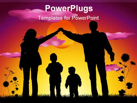 family powerpoint templates free family with two children house silhouette
