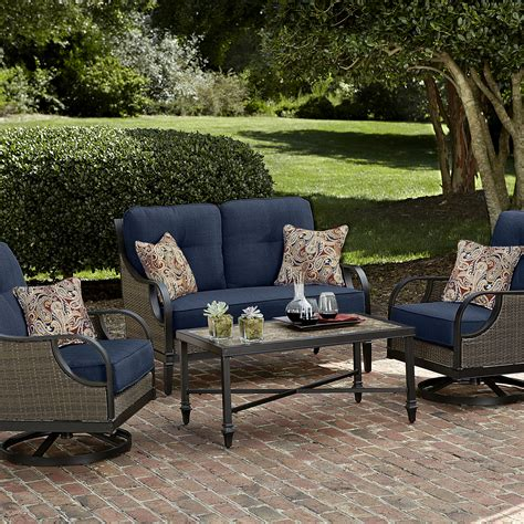 la z boy outdoor furniture la z boy outdoor 4 pc seating set blue limited availability outdoor living