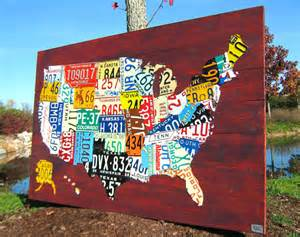 large license plate map of the united states 60 x