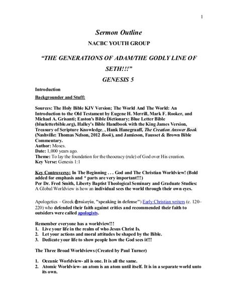 Sermon Outline For Youth by Sermon Outline Genesis 5 Nacbc