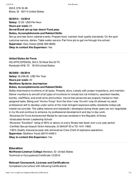 Resume Outline Sle by Usa Resume Sle 28 Images Sle Resume Outline 28 Images