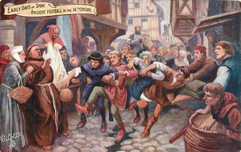 ancient football in the 14th century tuckdb postcards