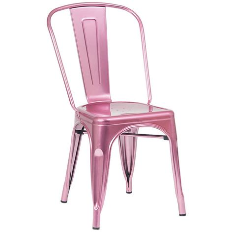 Pink Bistro Chair Bistro Style Metal Chair In Pink Finish