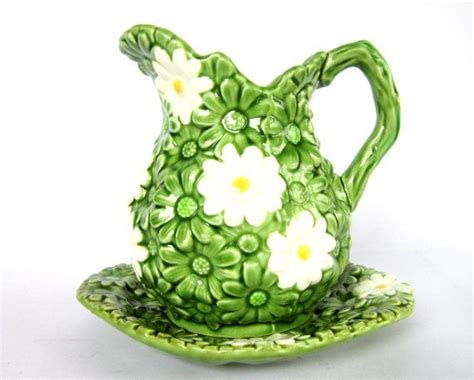 Flower Pitcher Set vintage green pitcher plate set with white flowers