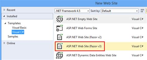 Programming Asp Net Web Pages Razor Using Visual Studio Microsoft Docs Asp Net Web Site Template Visual Studio 2012
