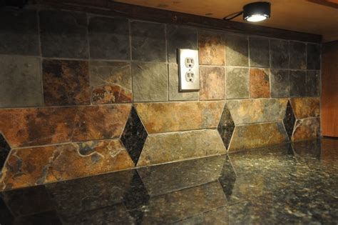 Kitchen Tile Backsplash Ideas With Granite Countertops Uba Tuba Granite Countertop And Tile Backsplash Eclectic