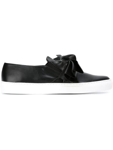 sneakers with a bow cedric charlier bow detail slip on sneakers in black lyst