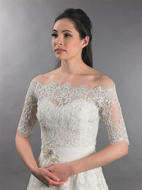 braut bolero spitze off shoulder wedding jacket lace bolero wj010