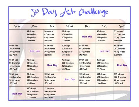 30 day workout plan for women at home exercise 30 day ab challenge physical fitness stack