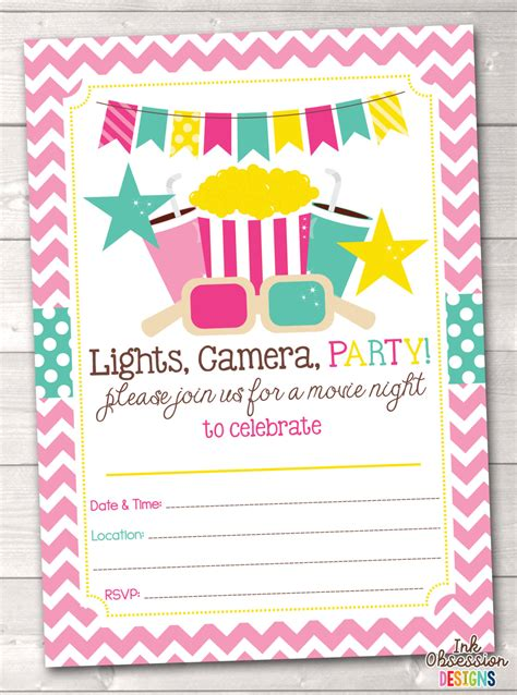 Instant Printable Birthday Invitations | printable girls movie party birthday party invitation instant