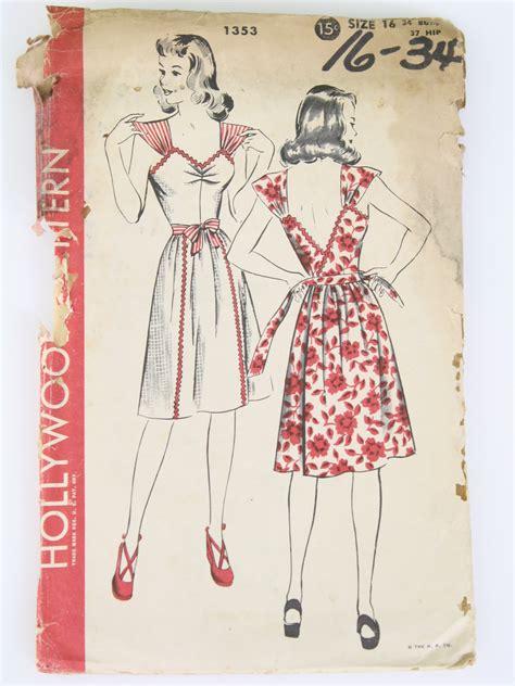 sewing pattern ladies pinafore dress 40s sewing pattern hollywood pattern no 1353 40s