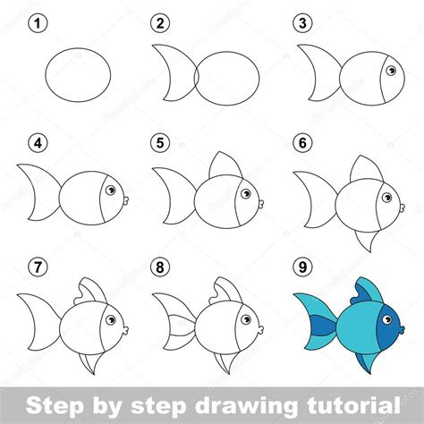 tutorial imagenes html drawing tutorial how to draw a cute fish stock vector