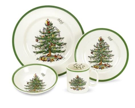 spode christmas tree 4 piece dinnerware place setting