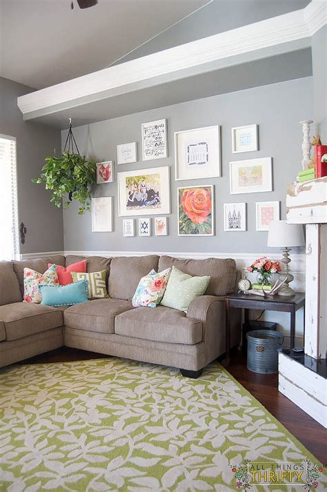 Green Living Room Ornaments Coral And Green Great Room Reveal