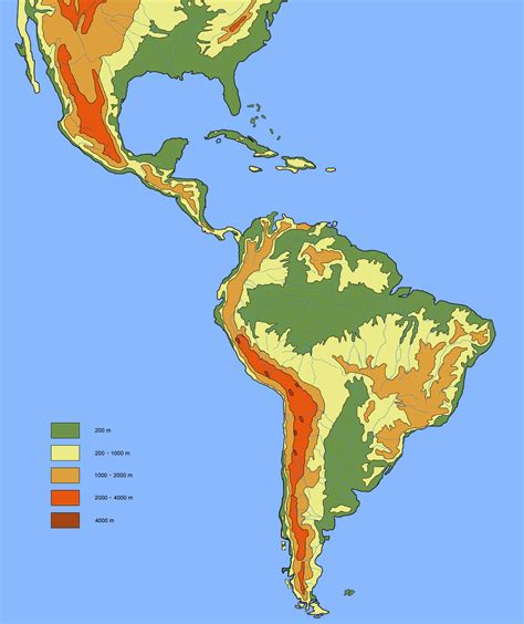 america map elevation maps of south america and south american countries