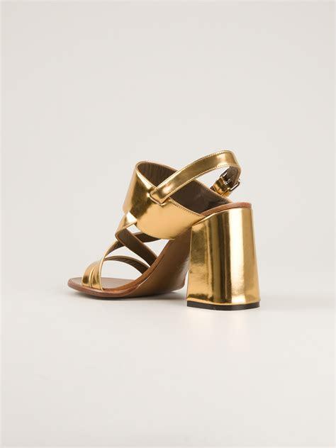 Golden Cross Chunky Heels Import 2 gold chunky heel sandals fs heel