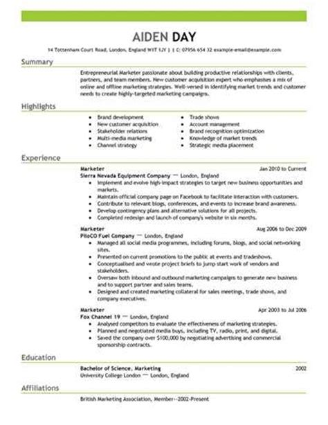 Resume Te by Marketing Resume Template Best Sle Resume