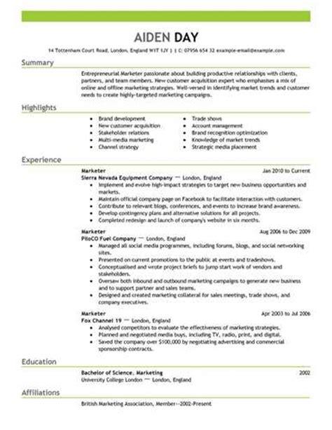 marketing resume template best sle resume