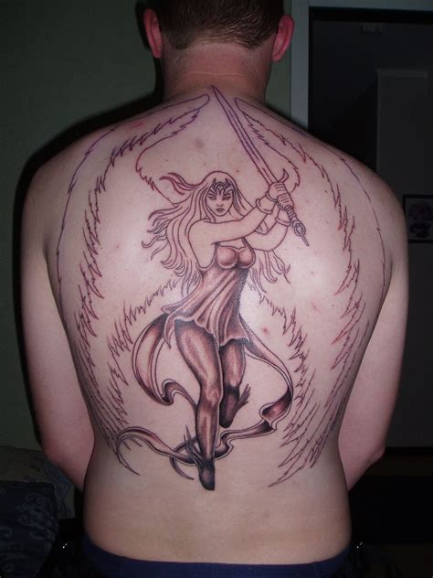guardian tattoo full body guardian angel grey ink tattoo on back body tattooshunt com