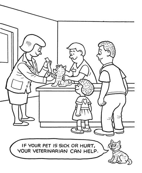 coloring page of veterinarian veterinarian at pet hospital coloring pages bulk color