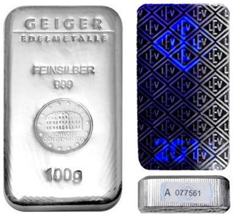 100 Gram Silver Bars by Buy 100 Gram Geiger Edelmetalle Silver Bars Silver