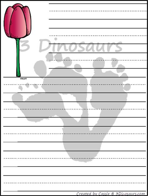 flower writing template free flower themed writing paper printable 3 dinosaurs