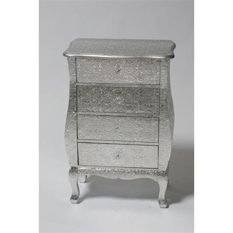 Silver Chest Drawers by Silver Embossed Chest Of 4 Drawers