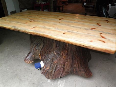 tree trunk bar top custom real oak tree trunk kitchen dining table one of