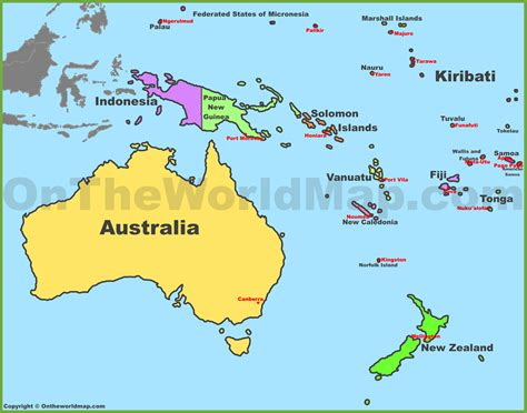 map of oceania countries map of oceania with countries and capitals