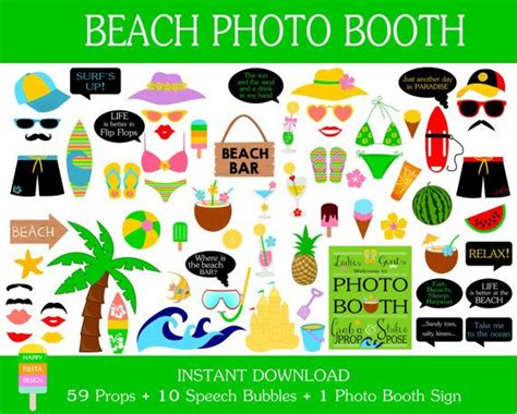 printable photo booth props summer printable beach photo booth props photo booth sign surfing