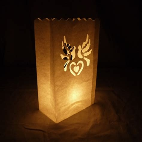 white doves paper luminaries luminary lantern bags path