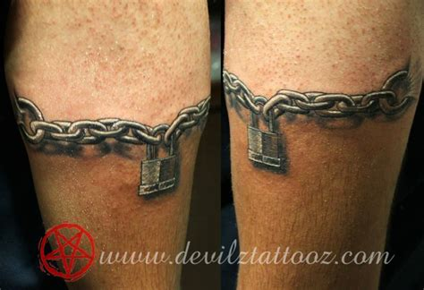 heart chain tattoo designs lock chain