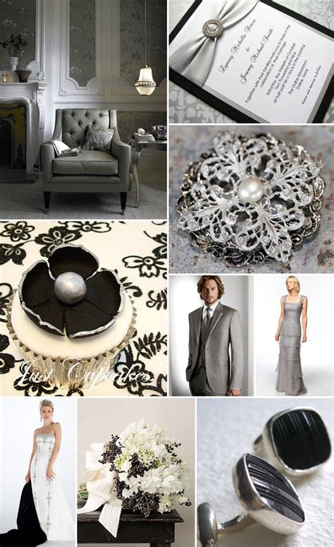 black white and silver wedding