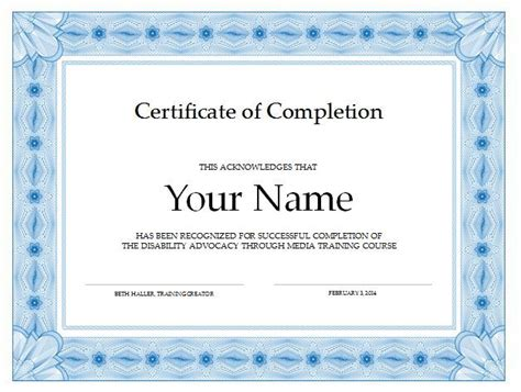 free template certificate of completion 37 free certificate of completion templates in word excel pdf