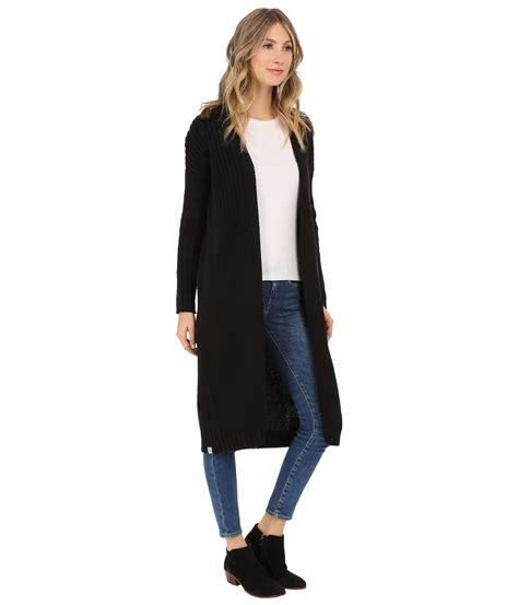 bench cardigans bench standtall long cardigan in black lyst