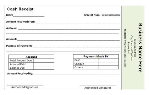 the proper receipt format for payment received and general