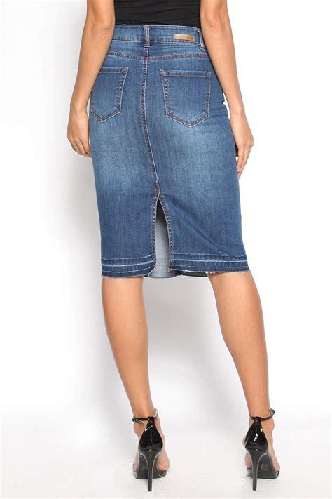 themogan s edge high waisted washed denim skirt