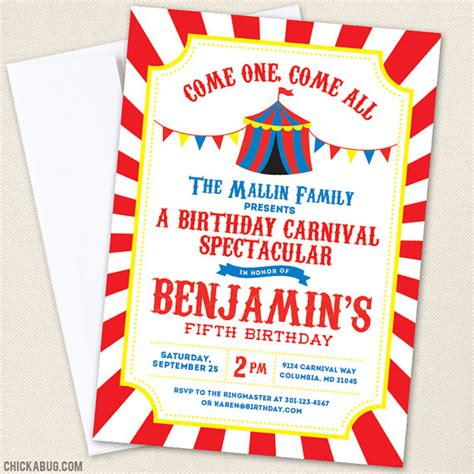 circus themed invitation templates 6 best images of carnival invitations free printable