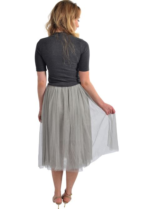 pleated tulle midi skirt grey happiness boutique