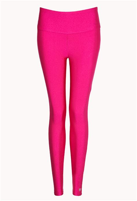 Celana Legging Forever 21 lyst forever 21 high waisted performance legging in pink