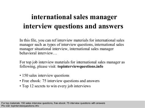 international sales manager interview questions and answers