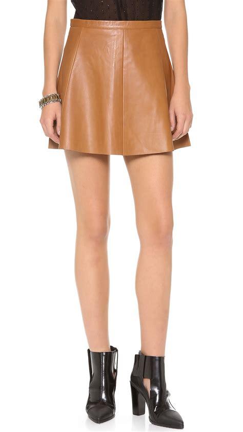 caramel leather skirt dress ala