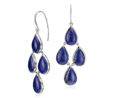 lapis statement earrings in sterling silver 11 5x7 7mm